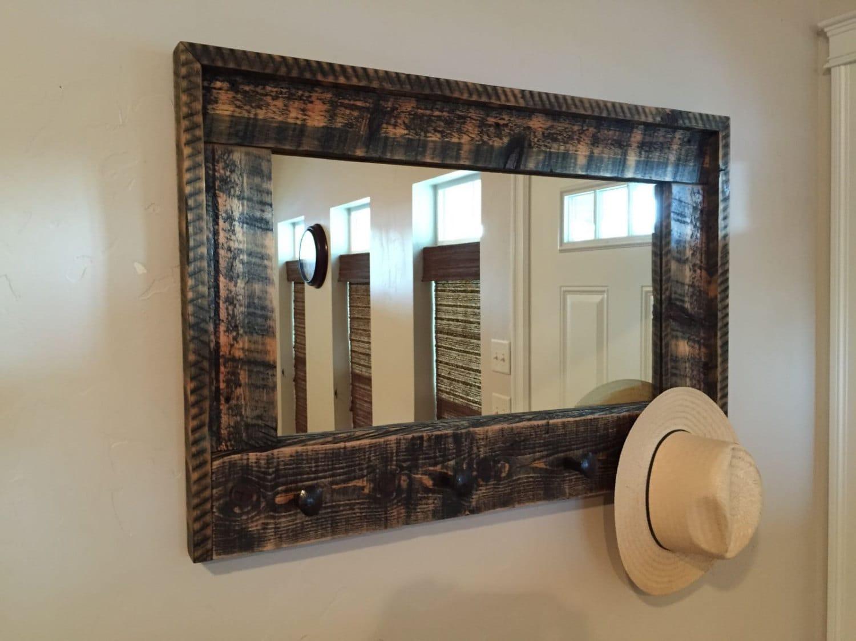 Large Entryway Barnwood Mirror Coat Rack