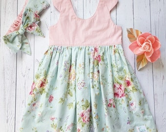Tea party dress with matching bow headband - pink and mint floral dress-Girl's summer dress - scoop back dress-Tea party dress