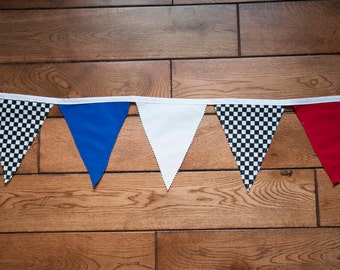 NASCAR RACING Pendant Flag Banner Garland, Bunting Banner,Racing Birthday Party Decor,Cars Decor,Checkered Flag Banner,Drag Racing Party