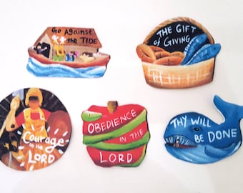 Bible stories, bible stickers, Jonah and the Whale, Noah's Ark, David and Goliath, Adam and Eve, Five loaves and two fishes, christian story