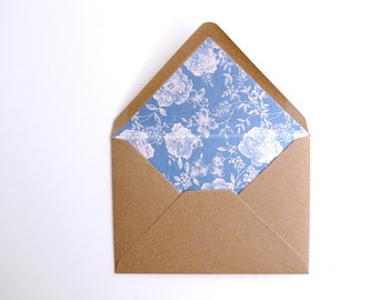 Floral Lined Envelopes. Pack of 10