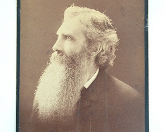 Victorian Photograph ~ Cabinet Card ~ Bearded Man from Boston ~ 1862 ~ Free Shipping in USA
