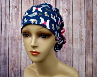 Womens Surgical Scrub Caps - Ponytail - Scrub Hat - Assorted Canines