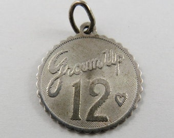 Grown Up 12 Sterling Silver Charm or Pendant.