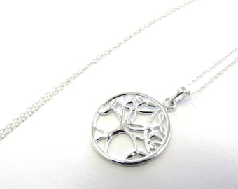 "Sterling Silver Tree of Life Nature Pendant on 18"" long Cable Chain Necklace, Cut-out"