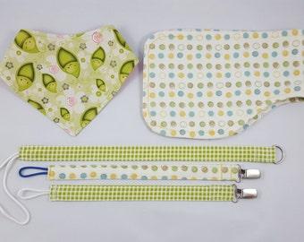 Peas-in-a-Pod Baby Bundle, Bibdana Bundle, Burp Cloth Bundle, Pacifier Clip Bundle, Gender Neutral Baby Shower Bundle, Baby Shower Gift