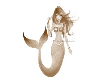 Golden Mermaid Fashion Illustration Summer Beach Ocean Print