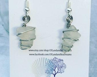 Sea Glass Wrapped Earrings