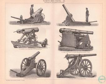 Antique Military Print - Antique Gun Lithograph from 1890