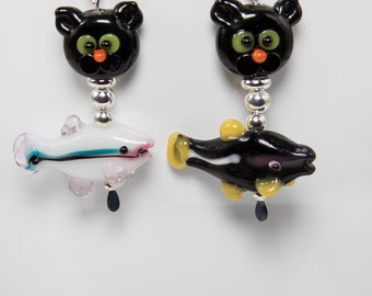 Hungry cat earrings-A361