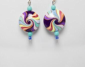 Wheels of color earrings-A325