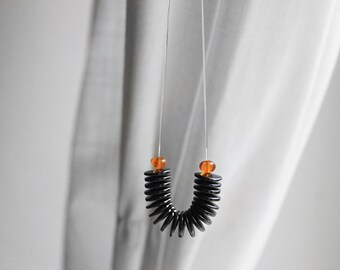 Hematite Necklace, Floating Hematite Disc and Amber Necklace, Invisible Thread Necklace, See-Through Necklace