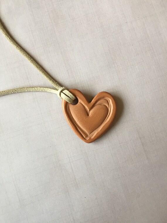 Terracotta Neck Pendant Diffuser ~ Heart terracotta diffuser necklace essential oils by