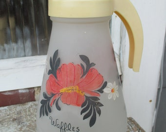 vintage anchor hocking hand painted syrup pitcher, painted flowers, waffles, pancakes, syrup dispenser, retro pitcher, 50's kitchen, red