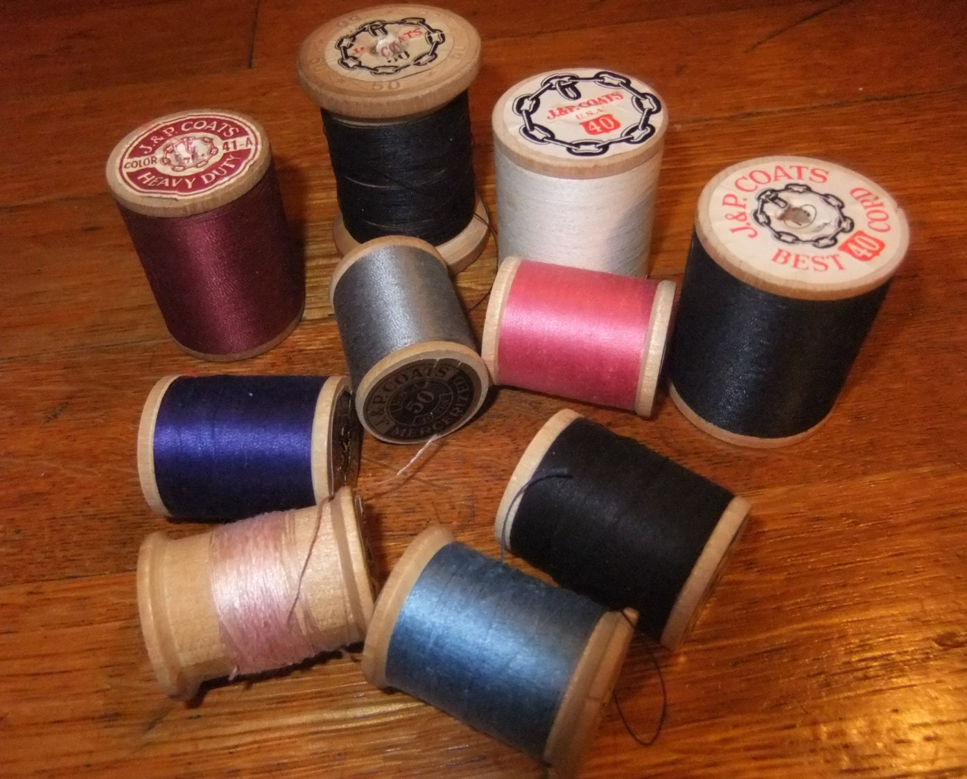 Vintage J Amp P Coats Wooden Spools With Cotton Thread Various