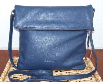 Cross body leather bag blue color