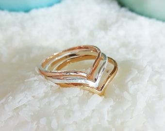 Thin Stacking Rings Mixed Metals Chevron Design - Chevron Stacking Rings Rose Gold and Silver - Mixed Metal Stocking Presents Rings