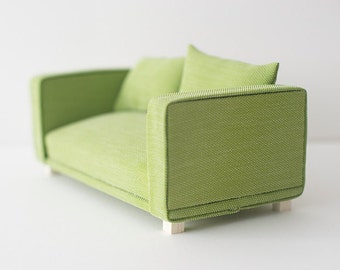 Two seater sofa scale 1:6 green color for diorama blythe, pullip, barbie, momoko or similar