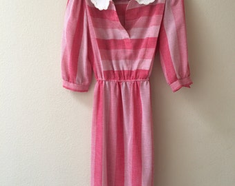 Pink Peter Pan Collared Dress with Belt