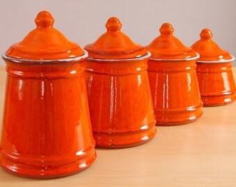 Vintage Estriceram Genin Trudeau Pottery Canister set