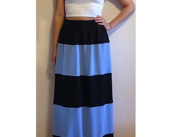Gathered Waist Striped Maxi Skirt - 5 Piece - Pick your own color combination / Maxi Skirt / Striped Maxi Skirt / Color Blocked Skirt