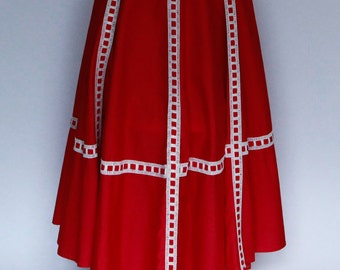 Vivid red 1950s 3/4 circle skirt with red & white ribbon trim
