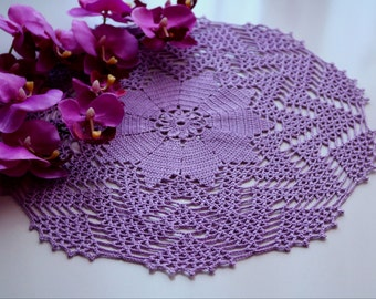 Violet doily, Crochet doily, Round crochet doily, Handmade doily, Crochet doily, crochet lace doily, Crochet table decoration, Crochet item
