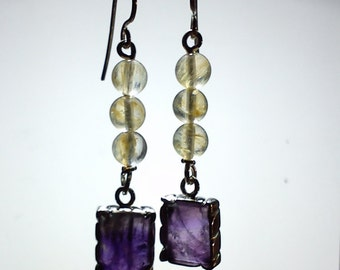 Amethyst and citrine. 925 Silver earrings made with. Romantic, elegant, timeless. Vintage style earrings. natural stone