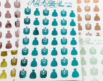 Wedding Dress Tuxedo Foiled Planner Stickers - 42 ct. [#184]