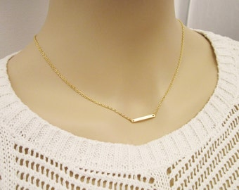 Mini Bar Necklace / Gold Dash Necklace / SimplevEveryday Jewelry / Minimal Jewelry / Small Bar Layered Necklace / N280