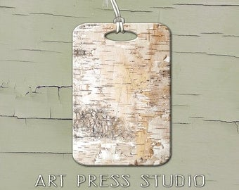 Birch Luggage Tag, Personalized Rustic White Birch Tag Luggage Tag, Boho Chic Luggage Tag, Woodland Tag, Birch Bark Texture