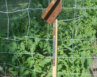 Vintage Garden Tool, Seed Trencher, Old Garden Tool, Garden Decor, Metal Art, Metal Yard Art, Metal Pole, Garden Art