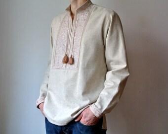 Handmade Vyshyvanka for men Ukrainian shirt Linen shirt men Made in Ukraine Mens yshivanka Ukrainian gift