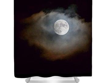 moon shower curtain black bathroom decor black shower curtain night sky lunar