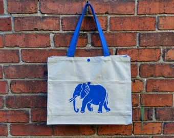 Blue Elephant Cotton Canvas Reusable Bag with Front Pocket,Eco Friendly Bag