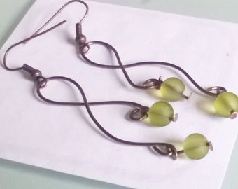 Green frosted swirl earrings