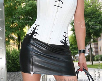 C+K Leather skirt, PVC skirt, miniskirt, mini skirt, mini with metal zipper, super shiny, stretchable, new handmade