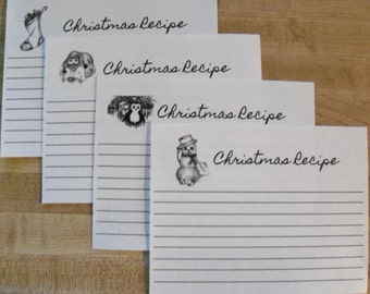 Recipe Cards / Christmas Recipe Cards/ Holiday Recipe Cards / Cooking Instruction Cards 16 pc.  CR 1