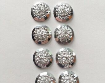 Resin Cabochons 12mm - 8pcs - Silver