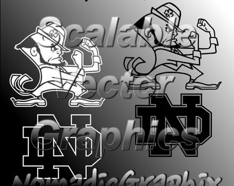 Notre Dame Fighting Irish - With Lettermark - Vector Cut Files - SVG / DXF / EPS