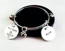 Pet Memorial Bracelet, Pet name bangle, paw print charm, you left paw prints on my heart, pet remembrance jewelry, dog bracelet, cat bangle