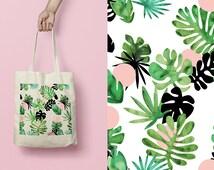 Tote bag / race bag / cotton bag / tropical leaves pattern /