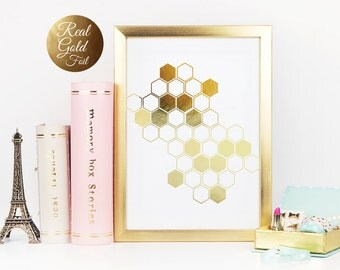 Gold Honeycomb, Gold Foil, Gold Home Decor, Gold Geometric, Gold Wall Prints