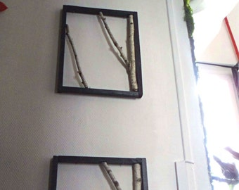 Birch branches frames, frames birch branches, plant design, green