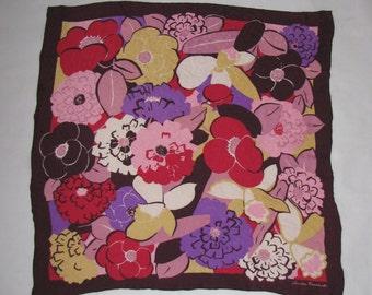Silk SCARF floral pattern Christian Fischbacher scarf vintage retro flower