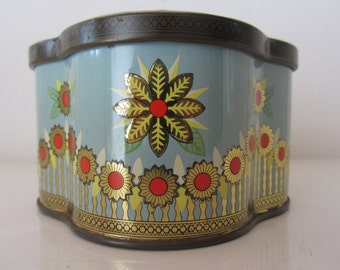 Heller Metal Tin Box with a Floral Decoration - Golden and Red stylized Flowers and a Fence in a Baby Blue background - Made in the 1950s