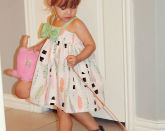 Girls Feather Dress - toddler dress baby dress hattie dress mint coral dress summer dress bow dress girls dress toddler outfit girls outfit