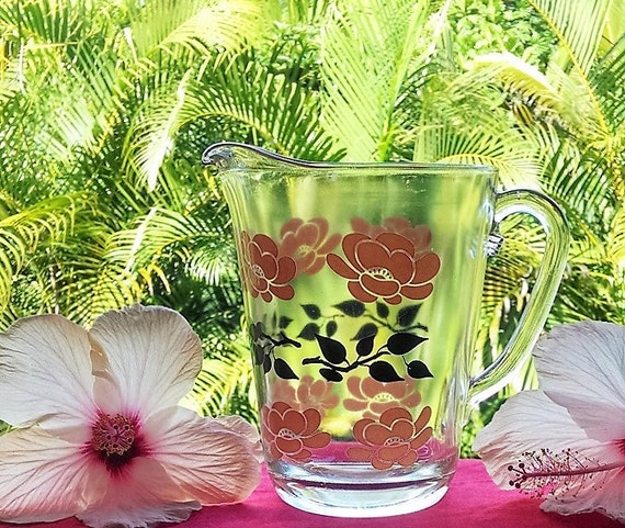Vintage Hand Painted Glass Pitcher With Pink Flowers, Pressed Glass Water/Juice Pitcher, Floral Design Glass Pitcher