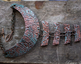 Distressed copper Statement necklace large Bib necklace massive necklace steampunk necklace patina necklace polymer clay necklace