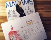 Instant Printable January 2017 Calendar Page Watercolor Instant Fashion Calendar. Sale